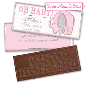 Personalized Bonnie Marcus Elephants Baby Shower Embossed Chocolate Bar & Wrapper