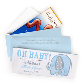 Deluxe Personalized Bonnie Marcus Baby Shower Elephants Godiva Chocolate Bar in Gift Box (3.1oz)
