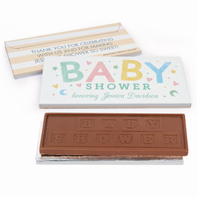 Deluxe Personalized Colorful Baby Baby Shower Embossed Chocolate Bar in Gift Box