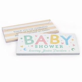 Deluxe Personalized Colorful Baby Baby Shower Chocolate Bar in Gift Box