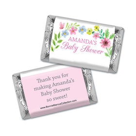 Personalized Bonnie Marcus Baby Shower Butterfly Flower Wreath Hershey's Miniatures Wrappers