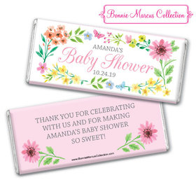 Personalized Bonnie Marcus Baby Shower Butterfly Flower Wreath Chocolate Bar
