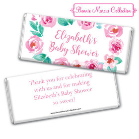Personalized Bonnie Marcus Baby Shower Pink Floral Wreath Chocolate Bar