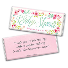 Personalized Bonnie Marcus Baby Shower Watercolor Flowers Chocolate Bar Wrappers