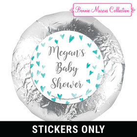 Personalized Bonnie Marcus Heart Shower Baby Shower 1.25in Stickers (48 Stickers)