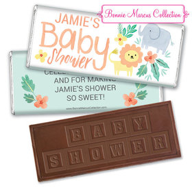 Personalized Bonnie Marcus Safari Fun Baby Shower Embossed Chocolate Bar & Wrapper