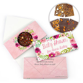 Personalized Bonnie Marcus Baby Shower Watercolor Blossom Wreath Gourmet Infused Belgian Chocolate Bars (3.5oz)
