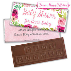 Personalized Bonnie Marcus Baby Shower Painted Petals Embossed Chocolate Bar
