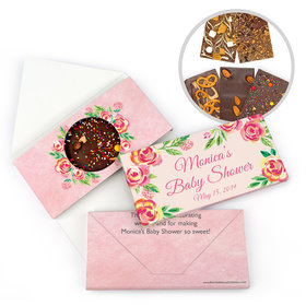 Personalized Bonnie Marcus Baby Shower Watercolor Pink Blossom Gourmet Infused Belgian Chocolate Bars (3.5oz)