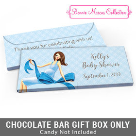 Deluxe Personalized Baby Bow Baby Shower Candy Bar Favor Box