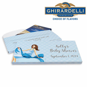 Deluxe Personalized Baby Bow Baby Shower Ghirardelli Chocolate Bar in Gift Box