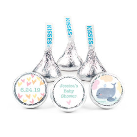 """Personalized 3/4"""" Stickers - Bonnie Marcus Baby Shower Baby Whale (108 Stickers)"""