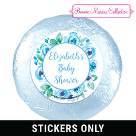 Personalized Bonnie Marcus Baby Shower Blue Floral Wreath 1.25in Stickers (48 Stickers)