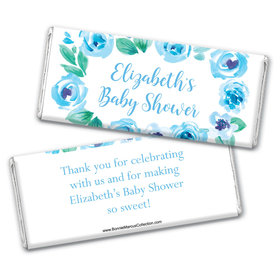 Personalized Bonnie Marcus Baby Shower Blue Floral Wreath Chocolate Bar Wrappers