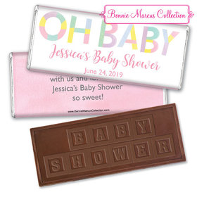Personalized Bonnie Marcus Baby Shower Pastel Embossed Chocolate Bar