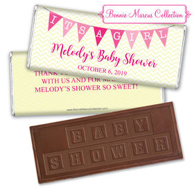 Personalized Bonnie Marcus Baby Shower Chevron Banner Girl Chocolate Bar