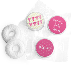 Personalized Bonnie Marcus Baby Shower Chevron Banner Girl Life Savers Mints