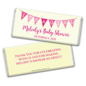 Personalized Bonnie Marcus Baby Shower Chevron Banner Girl Chocolate Bar Wrappers Only