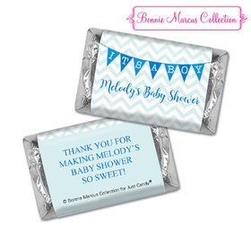 Personalized Bonnie Marcus Chevron Banner Boy Shower Hershey's Miniatures