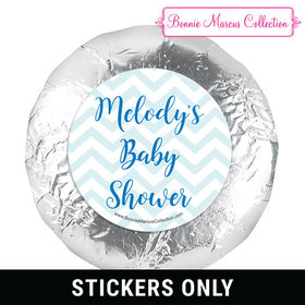 Personalized Bonnie Marcus Chevron Banner Boy Baby Shower 1.25in Stickers (48 Stickers)
