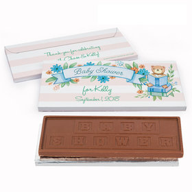 Deluxe Personalized Story Time Baby Shower Embossed Chocolate Bar in Gift Box