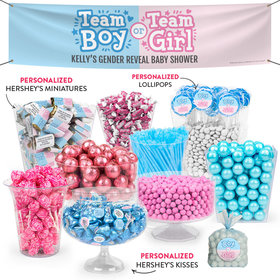 Personalized Gender Reveal Team Boy or Team Girl Deluxe Candy Buffet