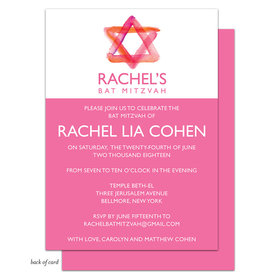 Bonnie Marcus Collection Personalized Pink Star of DavidBat Mitzvah Invitation