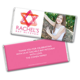 Bat Mitzvah Personalized Photo Pink Star of David Chocolate Bar Wrappers Only