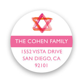 Bonnie Marcus Collection Personalized Pink Star of David Bat Mitzvah Return Address Sticker