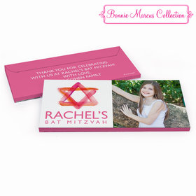 Deluxe Personalized Pink Star of David Bat Mitzvah Chocolate Bar in Gift Box