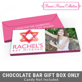 Deluxe Personalized Pink Star of David Bat Mitzvah Candy Bar Favor Box