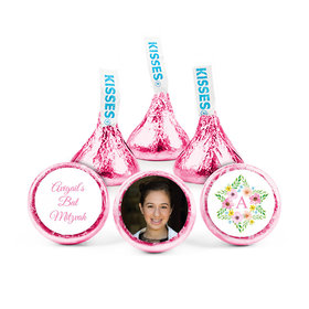 Personalized Bat Mitzvah Floral Star of David Hershey's Kisses (50 pack)