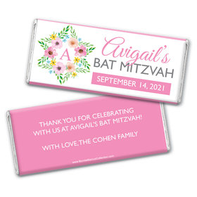Personalized Bonnie Marcus Bat Mitzvah Floral Star of David Chocolate Bar