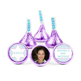 Personalized Bat Mitzvah Traditional Stripes Hershey's Kisses (50 pack)