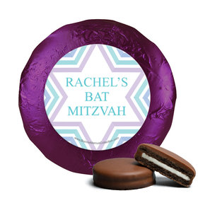Personalized Bonnie Marcus Bat Mitzvah Traditional Stripes Chocolate Covered Oreos Cookies (24 Pack)