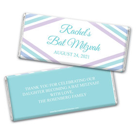 Personalized Bonnie Marcus Bat Mitzvah Traditional Stripes Chocolate Bar Wrappers