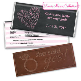 Bonnie Marcus Collection Personalized Embossed Chocolate Bar Chocolate and Wrapper Sweetheart Swirl Engagement
