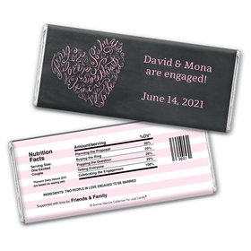 Sweetheart Swirl Engagement Personalized Candy Bar - Wrapper Only