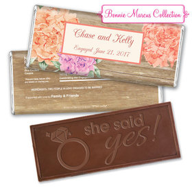 Bonnie Marcus Collection Personalized Embossed Chocolate Bar Chocolate and Wrapper Blooming Joy Engagement Announcement