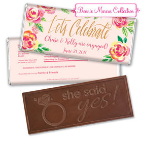 Bonnie Marcus Collection Personalized Embossed Chocolate Bar Chocolate & Wrapper In the Pink Engagement Favors by Bonnie Marcus