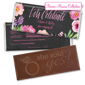 Bonnie Marcus Collection Personalized Embossed Chocolate Bar Chocolate & Wrapper Floral Embrace Engagement Favors