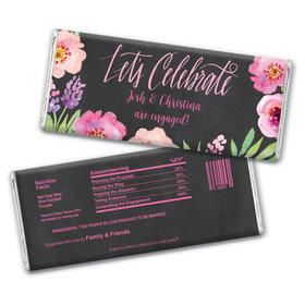 Floral Embrace Engagement Favors Personalized Candy Bar - Wrapper Only