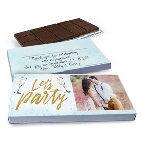 Deluxe Personalized Champagne Party Engagement Chocolate Bar in Gift Box (3oz Bar)