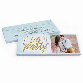 Deluxe Personalized Champagne Party Engagement Chocolate Bar in Gift Box