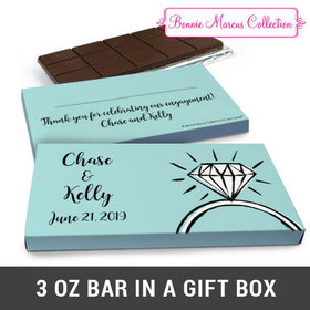 Deluxe Personalized Bada Bling Engagement Chocolate Bar in Gift Box (3oz Bar)