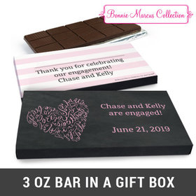 Deluxe Personalized Sweetheart Swirl Engagement Chocolate Bar in Gift Box (3oz Bar)
