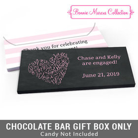 Deluxe Personalized Sweetheart Swirl Engagement Candy Bar Favor Box