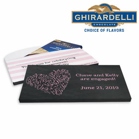 Deluxe Personalized Sweetheart Swirl Engagement Ghirardelli Chocolate Bar in Gift Box