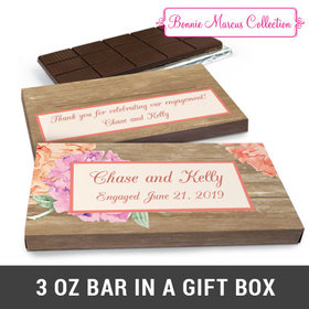 Deluxe Personalized Blooming Joy Engagement Chocolate Bar in Gift Box (3oz Bar)