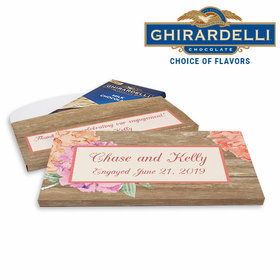 Deluxe Personalized Blooming Joy Engagement Ghirardelli Chocolate Bar in Gift Box